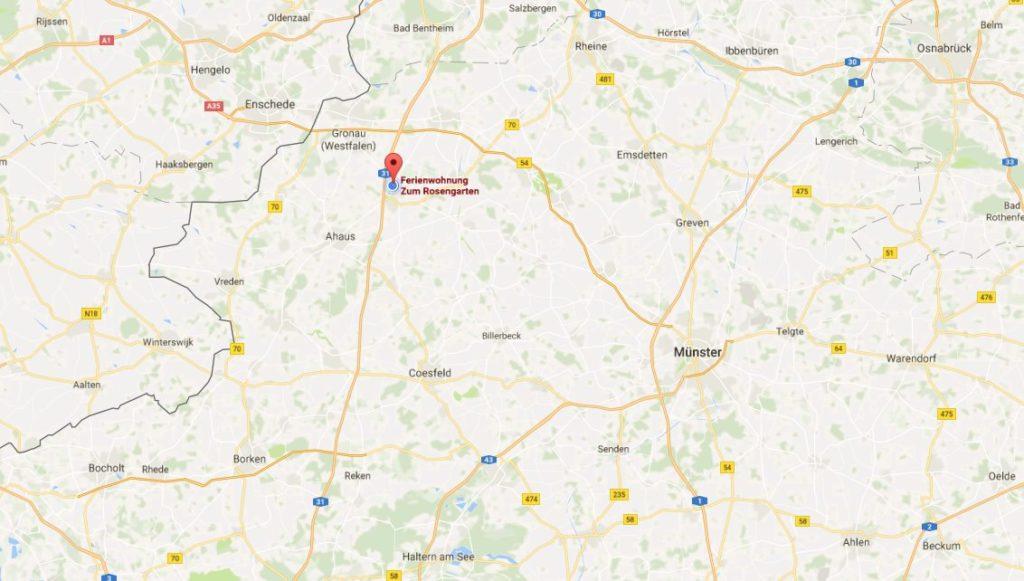 Karte zur Anreise Ferienwohnung Zum Rosengarten